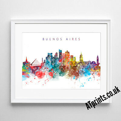 BUENOS AIRES SKYLINE MAP Print Poster Watercolour Framed Canvas Wall Art Gift