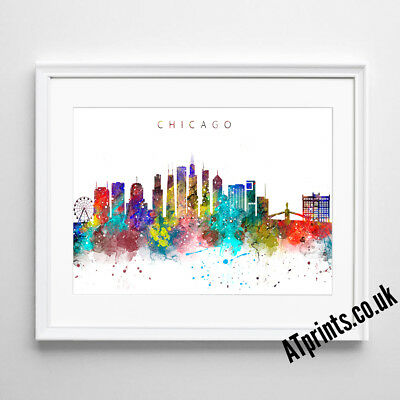 CHICAGO SKYLINE MAP Print Poster Watercolour Framed Canvas Wall Art Gift CITY