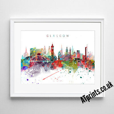 GLASGOW SKYLINE MAP Print Poster Watercolour Framed Canvas Wall Art Gift CITY