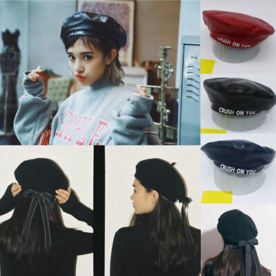 Womens Ladies PU Leather Beret Harajuku Wool Basque Beret Hat With Bowknot Caps