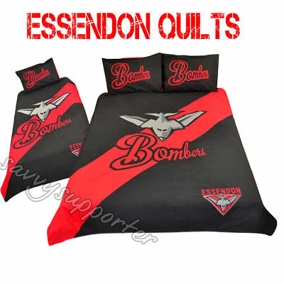 Essendon Bombers AFL Quilt Cover Set Single Double Queen Avail Doona Duvet BNIP