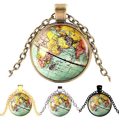 Vintage World Map Cabochon Tibetan Silver Plated Glass Chain Pendant Necklace GT