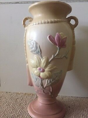 "hull pottery -- magnolia 12 1/2"" vase in dusty rose and yellow"