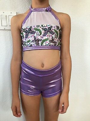 Details Dancewear Purple Butterfly Girls Costume Size L top and Adult S shorts