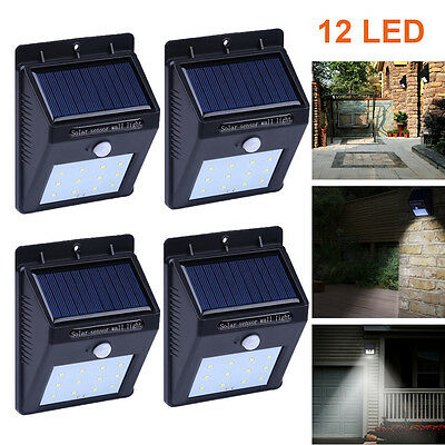 4 Pack- Solar Powered LED Wall Light Outdoor Garden Lamp PIR Motion Sensor