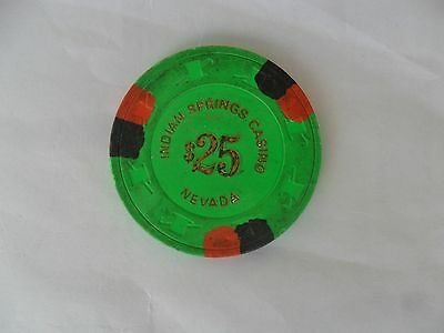 $25 Indian Springs Casino Chip Lime Green Free Shipping