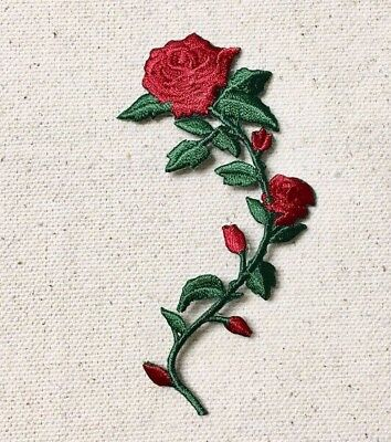 Small 3-1/2 Red Rose Stem/Curved RIGHT/Flower Iron on Applique/Embroidered Patch
