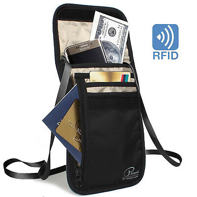 [Super-Slim]Premium Large Capacity Neck Stash Pouch Travel RFID Wallet Bag-Black
