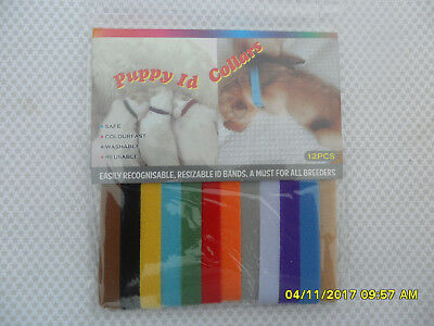 24 Whelping Id Collars 12 Colors Tags Longer Size 1Cm X 35Cm Bands Puppy Kitten