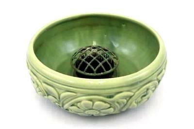 Floral Folk Art Pottery Shallow Planter with Needle Pin Flower Frog Green Glaze