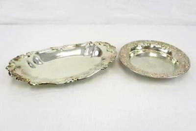 Mixed Set of 2 Sheridan Silver Round Deep Set Plate and Oval Serving Platter