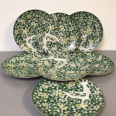 Antique Chinese Porcelain Green Enameled Plate Apple Tree Blossom (7 available)