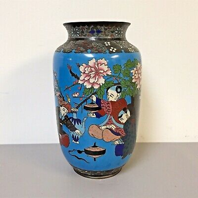 Unusual Large Decorated Antique Chinese Cloisonne Vase W Children Playing Motife