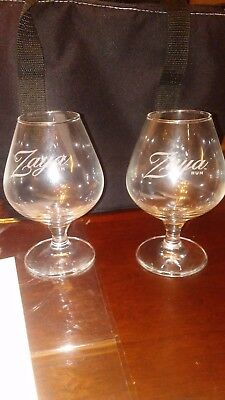 ZAYA RUM Footed Snifter (2) Etched  COLLECTIBLE!