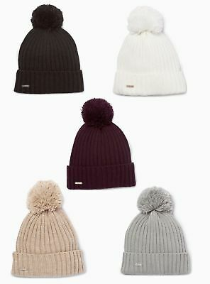 NWT Calvin Klein Women's Solid Ribbed Pom Pom Beanie (Choose Color) $38
