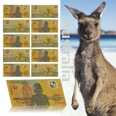 WR Australia 1988 $10 Bicentenary Polymer Note 24K GOLD Colored Banknote Set X10