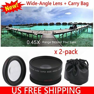 2PCS Universal 58mm 0.45X WIDE Angle LENS For Canon EOS 500D Camera/Camcorder HM