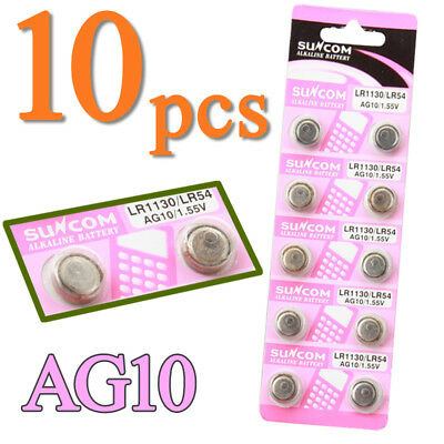 10x AG10 LR1130 LR54 389A 1.55V Button Coin Cell Batteries for Watch Camera Toy