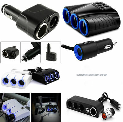 2/3/4 Way Car Cigarette Lighter Socket Splitter 12V USB Charger Power Adapter LN