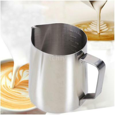 Stainless Steel Milk Frother Pitcher Milk Foam Container Measuring Cups G7D4