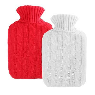 2pcs 2000ml Hot Water Bottle Bag Knitted Cover Heat Therapy Case