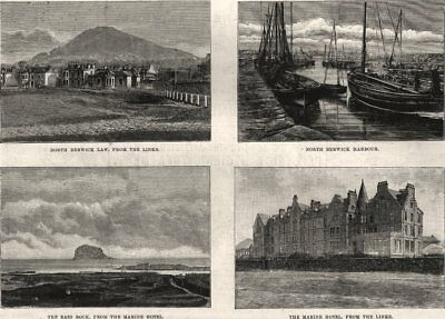 North Berwick Law from the Links; harbour; Bass Rock from the Marine Hotel, 1888