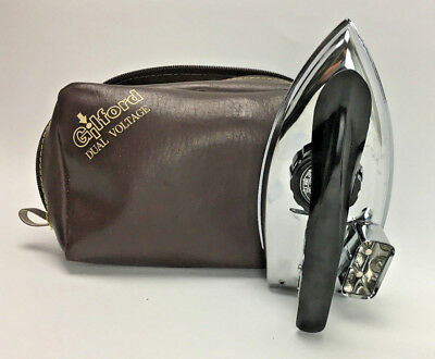 Vintage GILFORD TRAVEL IRON with Carry Case Working RETRO 1960'S CLOTHES IRON