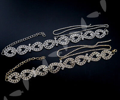 Women Charm Crystal Choker Bling Diamond Necklace Party Jewelry Silver/Gold