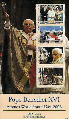 Grenada 2013 MNH Pope Benedict XVI World Youth Day 2008 4v M/S Popes Stamps
