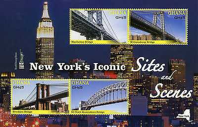 Ghana 2016 MNH New York Iconic Sites & Scenes NY2016 4v M/S Bridges Stamps