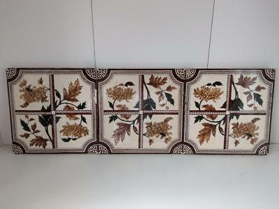 Victorian Tiles Floral pattern job lot of 3 tiles