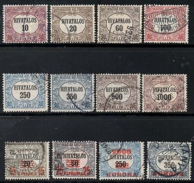 Hungary 1921-23 Official Stamps  SG.O428/0440 (Exc.SGO439)  Used