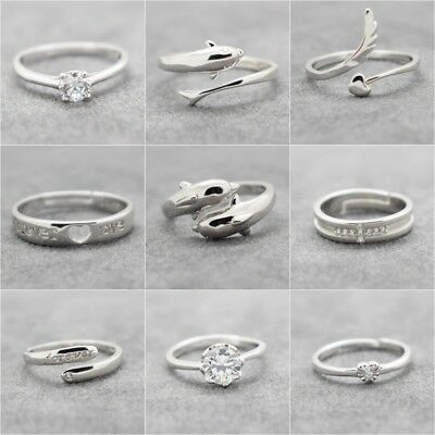Womens Mens 925 Sterling Silver Plated Adjustable Rings Thumb Finger Open Band