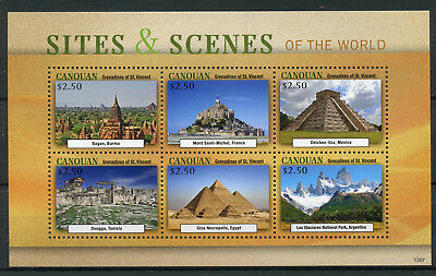 Canouan Gren St Vincent 2013 Sites Scenes World 6v M/S Pyramids Giza Stamps
