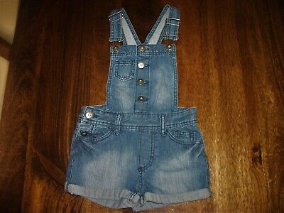 Girls Blue Denim Short Dungarees Playsuit Casual Outfit F&F Age 6-7 Years - VGC