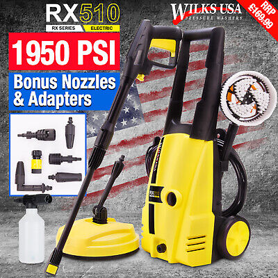 Electric Pressure Washer, 1950 PSI/1800w Power WILKS-USA RX510 ~Karcher Adapter~