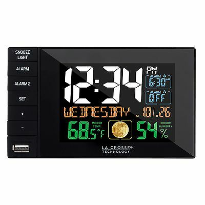 C87207 La Crosse Technology Dual Alarm Clock with USB Charging Port -Black NIB