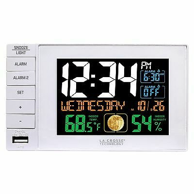C87061 La Crosse Technology Dual Alarm Clock with USB Charging Port - White NIB
