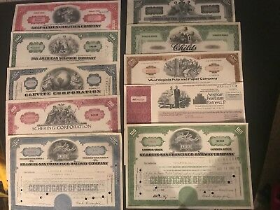 7 Different Vintage stock & bond certificates