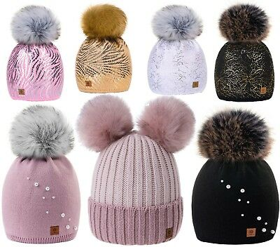 Kids Winter Beanie Hat Girls Children Knitted Girl Hats Worm Large Pom Pom Pearl
