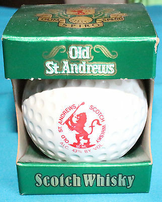 Vintage 1982 Old St. Andrews Scotch Whisky Golf Ball Full Flask and New in Box