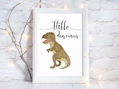 dinosaur nursery a4 gloss poster Print picture,unframed watercolour 7 UNFRAMED