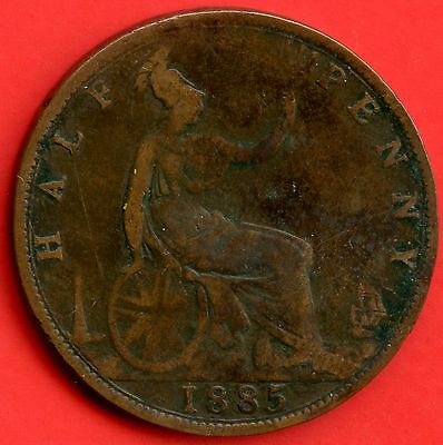 1885 Great Britain Half Penny Coin