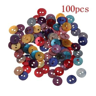 100Pcs 10mm Assorted Color Natural Shell Tiny Mini Round Buttons 2 Holes Sewing