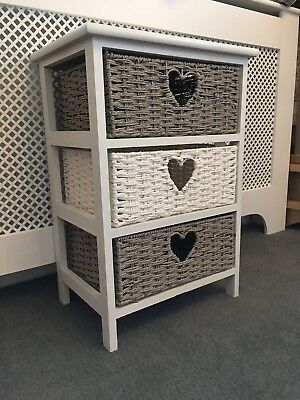 White Grey Wicker Storage Chest of Drawers Bedside Table Girls Kids Nursery