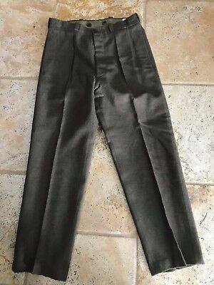 VTG Military Wool Pants Green WWII Button Fly Suspenders Mens Size 32x30