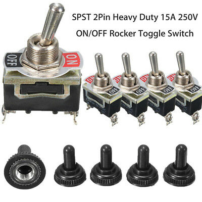 5X SPST 2Pin Car Boat 15A AC250V On/Off Rocker Toggle Switch+Waterproof Boot US