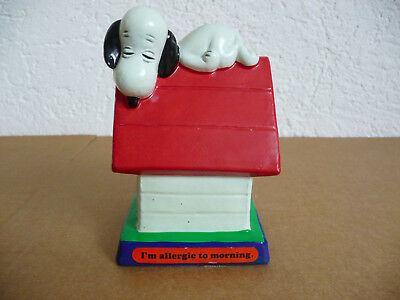 "RAR Peanuts Snoopy 1971 Vintage Dog House "" I'm Allergic to Morning "" Hundehütte"