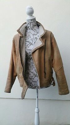 Sheepskin Real Leather Aviator Jacket Genuine True Vintage Antique S/M/10/12/14