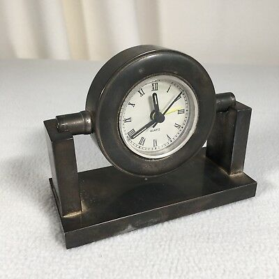 """Ships Clock Metal Rotates Battery Operated With Alarm 4"""" Tall 5"""" Wide In Total"""